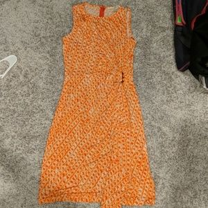 Orange and white sleeveless dress